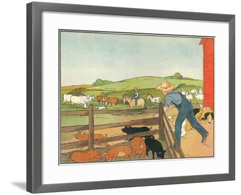 Barnyard Scene--Framed Art Print