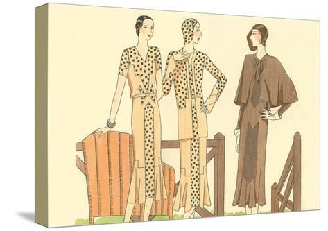 Fashion Illustration, Three Dresses--Stretched Canvas Print