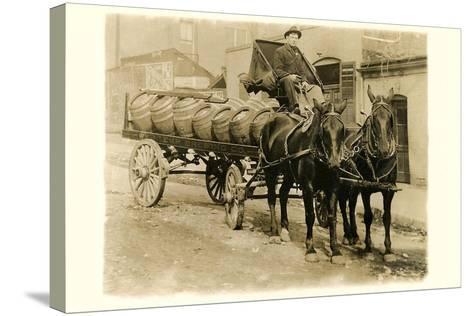 Beer Barrel Wagon--Stretched Canvas Print