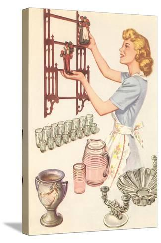 Housewife with Wall-Mount Etagere--Stretched Canvas Print