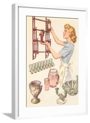 Housewife with Wall-Mount Etagere--Framed Art Print