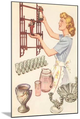 Housewife with Wall-Mount Etagere--Mounted Art Print