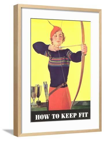 How to Keep Fit, Woman Archer--Framed Art Print