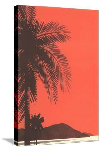Red Sky, Palm Trees--Stretched Canvas Print