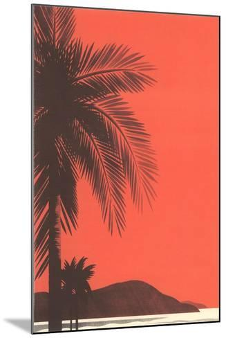 Red Sky, Palm Trees--Mounted Art Print