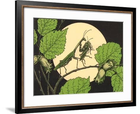 Praying Mantis with Grasshopper--Framed Art Print