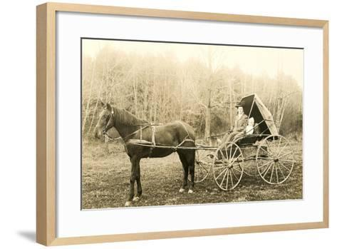 Woman and Child in Buggy--Framed Art Print