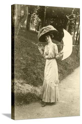Woman with Big Hat, Parasol--Stretched Canvas Print