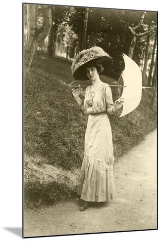 Woman with Big Hat, Parasol--Mounted Art Print