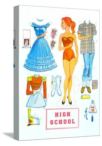 High School Paper Doll--Stretched Canvas Print