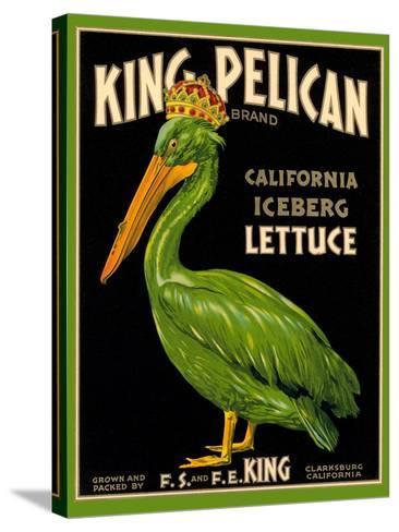 Green Pelican Crate Label--Stretched Canvas Print