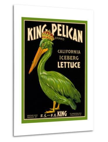 Green Pelican Crate Label--Metal Print