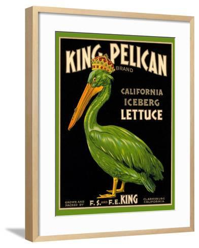 Green Pelican Crate Label--Framed Art Print