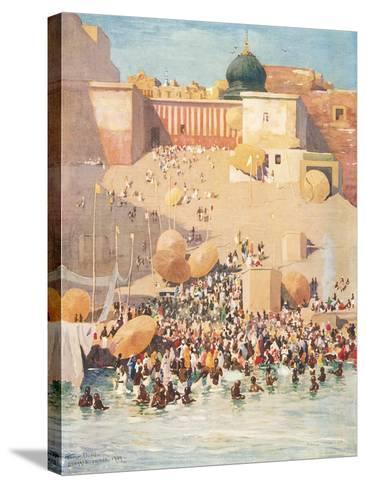 Crowds at Benares, India--Stretched Canvas Print