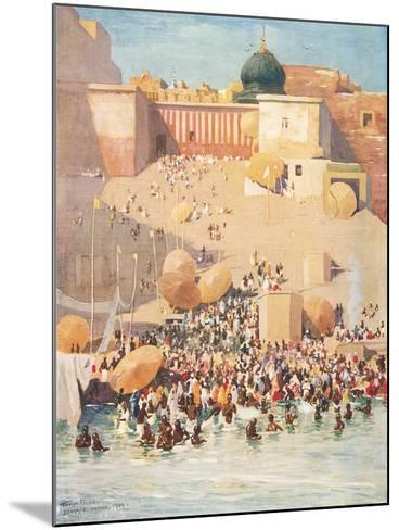 Crowds at Benares, India--Mounted Art Print