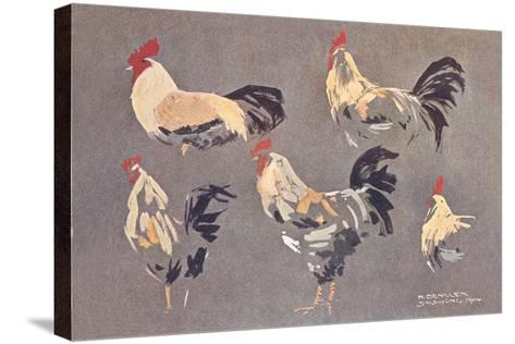 Roosters and Hens--Stretched Canvas Print