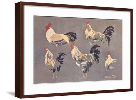 Roosters and Hens--Framed Art Print