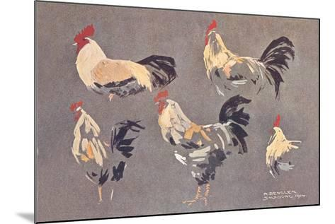 Roosters and Hens--Mounted Art Print