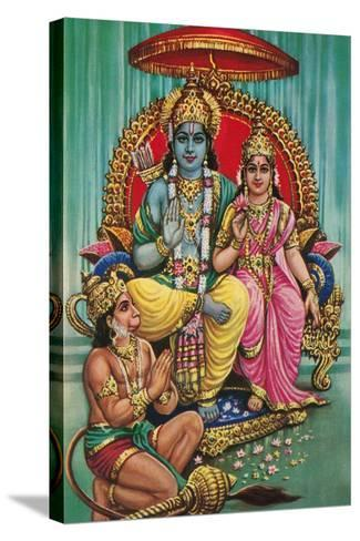 Shiva and Parvati with Hanuman--Stretched Canvas Print