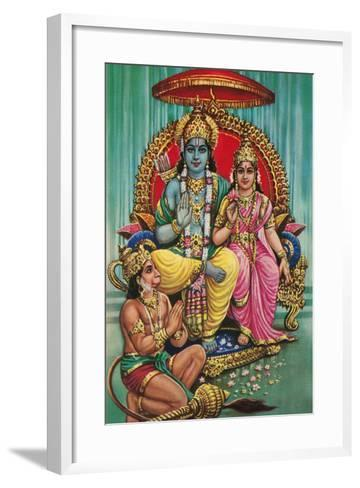 Shiva and Parvati with Hanuman--Framed Art Print