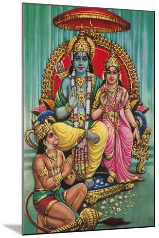 Shiva and Parvati with Hanuman--Mounted Art Print