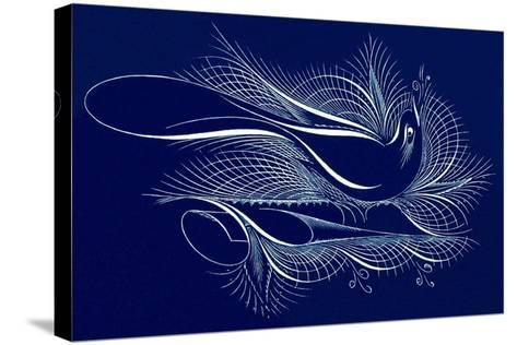 Tughra Bird in Blue--Stretched Canvas Print