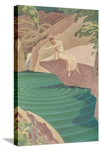 Stylized Woman by Pond--Stretched Canvas Print