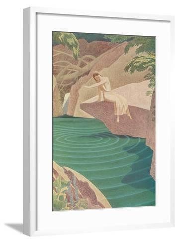 Stylized Woman by Pond--Framed Art Print