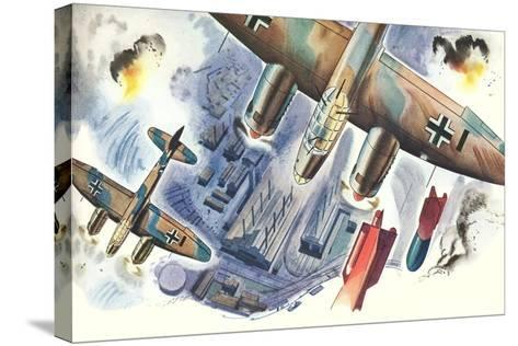 Bombers over Factory--Stretched Canvas Print