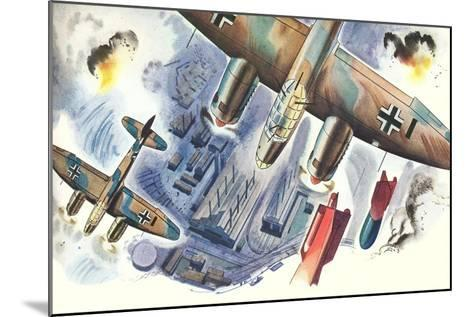Bombers over Factory--Mounted Art Print