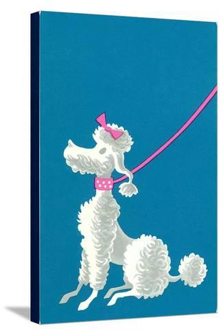 Poodle with Pink Leash--Stretched Canvas Print