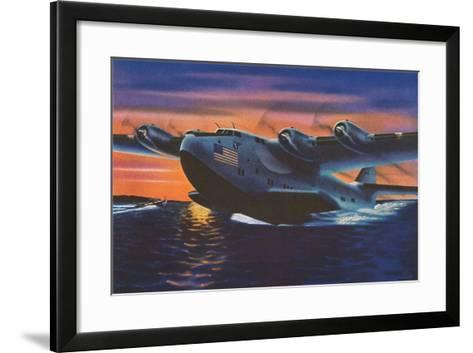 Clipper Plane Taking Off from Water--Framed Art Print