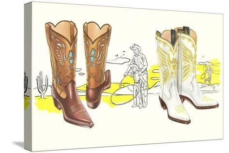 Two Pair of Fancy Cowboy Boots--Stretched Canvas Print
