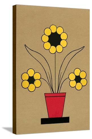 Geometric Flower in Pot--Stretched Canvas Print