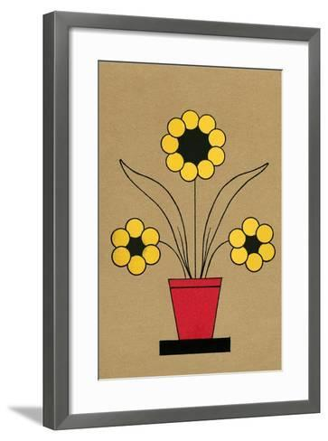 Geometric Flower in Pot--Framed Art Print