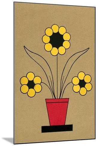 Geometric Flower in Pot--Mounted Art Print