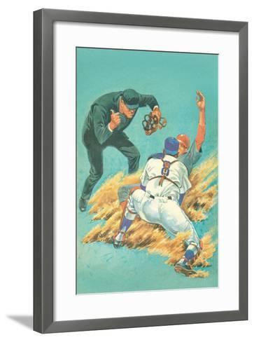 Out at Home Plate--Framed Art Print