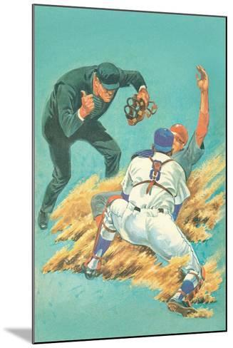 Out at Home Plate--Mounted Art Print