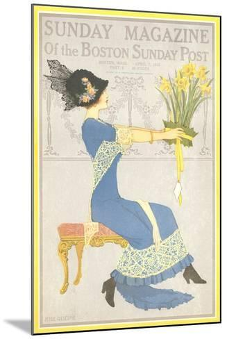 Woman with Daffodils--Mounted Art Print
