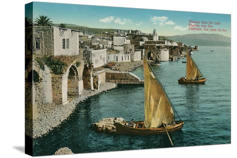 Dhows on Sea of Galilee, Isreal--Stretched Canvas Print