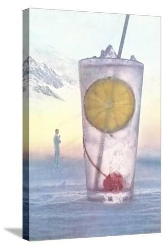 Cool Drink with Cherry and Lemon--Stretched Canvas Print