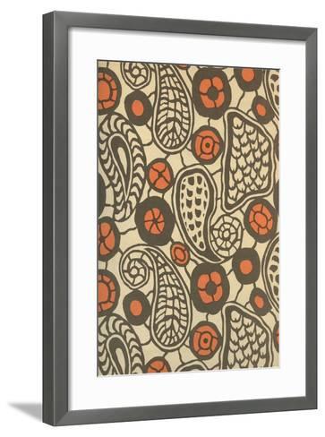 Primitive Brown Paisleys--Framed Art Print
