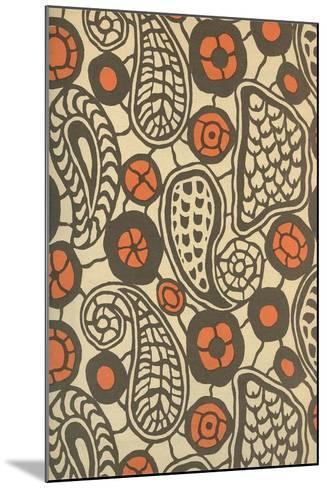 Primitive Brown Paisleys--Mounted Art Print
