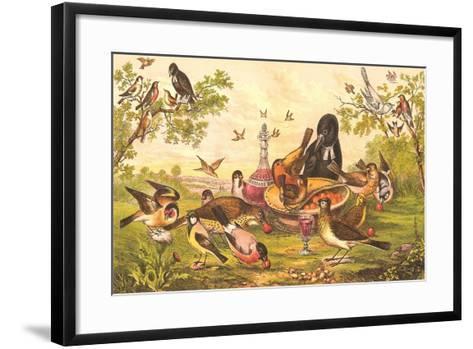 Birds at Abandoned Picnic--Framed Art Print