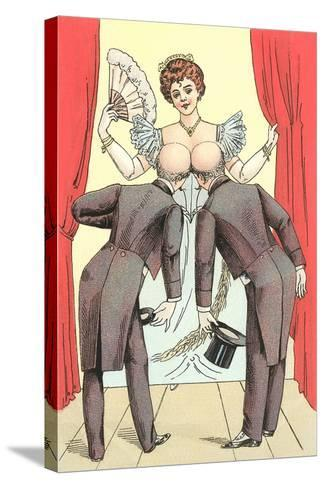 Risque Drawing, Two Gentlemen and Lady--Stretched Canvas Print