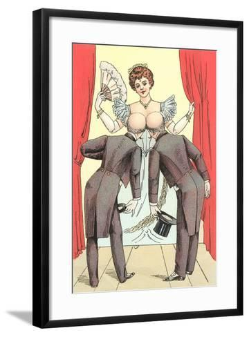 Risque Drawing, Two Gentlemen and Lady--Framed Art Print
