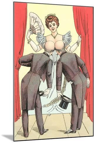 Risque Drawing, Two Gentlemen and Lady--Mounted Art Print