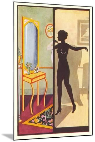 Silhouette of Nude Dressing--Mounted Art Print
