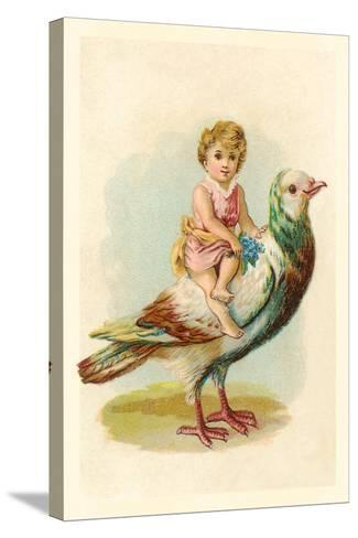 Child Riding Large Bird--Stretched Canvas Print