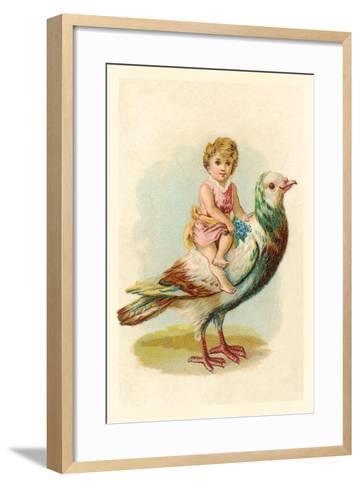 Child Riding Large Bird--Framed Art Print
